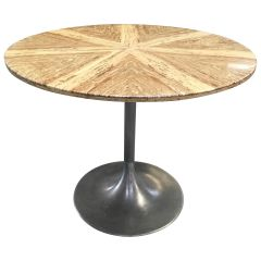 Mid-Century Modern Italian Dining or Center Table with Travertino Top, 1970s