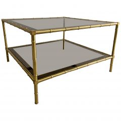 Mid-Century Modern French Two-Tier Maison Baguès Style Faux Bamboo Coffee Table