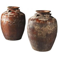 Pair of Large-Scale South Chinese Pottery Storage Jars