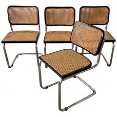 "Mid-Century Modern Italian Set of 4 ""Cesca"" Chairs by Marcel Breuer, 1970s"