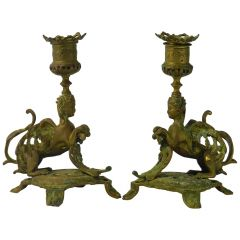 Pair of Candlesticks Winged Sphinx Gilt Bronze, 19th Century