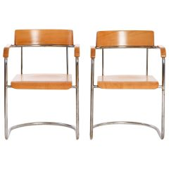 Tubular Steel Chairs from Fa. Vichr, 1930s, Set of Two