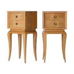 Pair of Art Deco Sycamore and Brass Bedside Tables by Suzanne Guiguichon