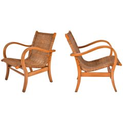 Pair of 1950s Wicker and Beechwood Armchairs
