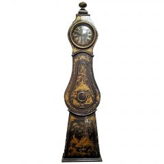 Mora Clock Swedish Gold Black Early 1800s Antique Chinoiserie Painted Original