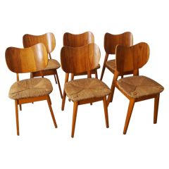 Set of Six 1950s French Straw Dining Chairs