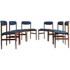 Mid Century Rosewood Dining Chairs in Blue Linen, Danish 1960's