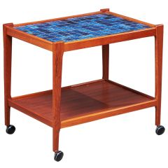 Mid-Century Danish Teak Tiled Trolley, 1960s