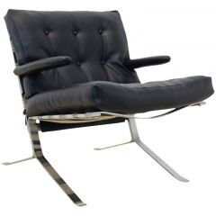 1970s Belgian Chrome Low-Back Lounge Chair
