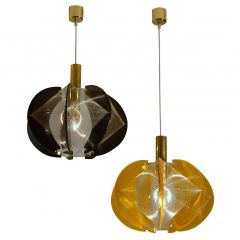 Pair of 1970s Lucite, Wire and Brass Pendant Lamp by Paul Secon for Sompex