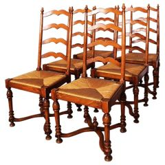 Six Provencal Dining Chairs French Country Ladder Back Rush Seats