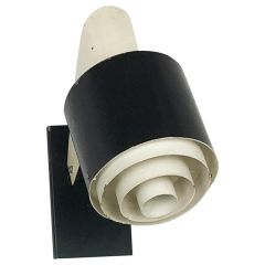 """Small Metal Sconces Wall Light """"Black and White"""" Series, Novalux France, 1960s"""