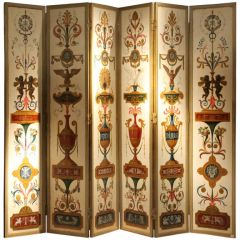 Italian Empire Folding Screen with Multicolored Lacquer Wood in Ormolu Frame