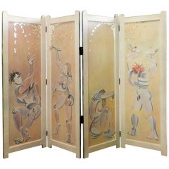 Four Fold Screen Original Painting by Mikel Dalbret Artist Vintage Room Divider