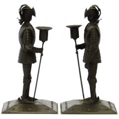 Pair of Arts & Crafts Iron Knights Candlesticks by Goberg