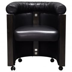 Club Chair in Leather and Ebony by Umberto Asnago for Giorgetti, Italy, 1980s