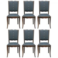 Six Art Deco Dining Chairs French Moustache Back Use or to Recover or Customize