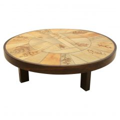 Sophisticated Ceramic Tiled and Oakwood Artwork Coffee Table by Roger Capron