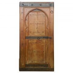 Two Antique Moroccan Arched Doors 19th Century Moorish Pair of Keyhole Doorways