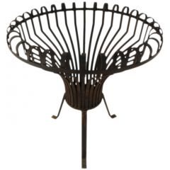 Monumental French Brazier Basket Fire Pit Artisan Forged Steel Early 20Th Century