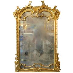 Italian Giltwood Mirror with Distressed Plate