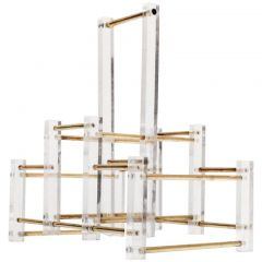French Acrylic and Brass Wine Rack, 1970s