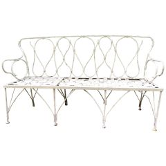 Early 1920s French Faux Bamboo Wrought Iron Garden Bench