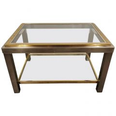 Vintage Brass and Chrome Side Table by Belgochrom, 1970s