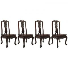 Traditional Oriental Rosewood Set of 4 Dining Chairs, Late 20th