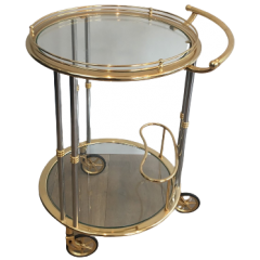 GUN METAL AND GILT DRINKS TROLLEY. FRENCH. 1970'S