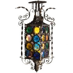 Venetian Wrought Iron Lantern and Multi Colored Stained Glass Disks, Italy 1890