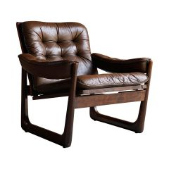 Midcentury Danish Rosewood Armchair with Sled base Rosewood, circa 1970
