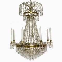 Empire Eight Arm Polished Brass Chandelier