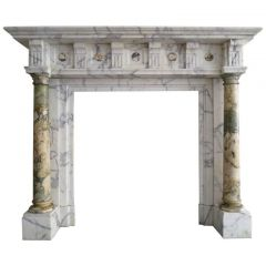 19th Century Breche and Arabescato Marble Columned Fireplace