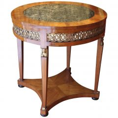 Italian Empire Cherrywood and Giltwood Centre Table with Dark Green Marble Top