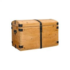 Antique Dome Top Carriage Chest, English, Iron Bound, Pine, Travelling Trunk