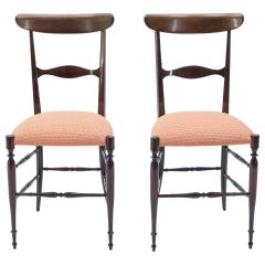 Rare Pair of Campanino Chiavari Walnut Chairs by Fratelli Levaggi, 1950