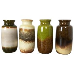 """Set of Four Vintage Pottery Fat Lava """"213-20"""" Vases Made by Scheurich, Germany"""