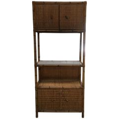 Mid-Century Modern Italian Bamboo Etagere with Shutters and Shelf 1970s