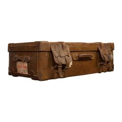 Very Large Antique Travel Suitcase, English, Leather, Steamer, Shipping Trunk
