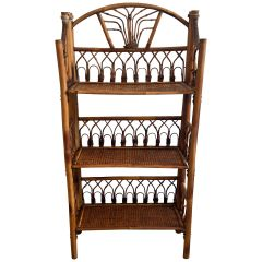 Mid-Century Modern French Bamboo and Rattan Folding Étagère, 1950s