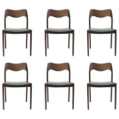 1960s Niels Otto Møller Six Refinished Teak Dining Chairs, Choice of Upholstery