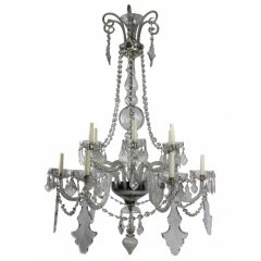 A Large French Cut Glass Chandelier