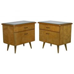 Pair of Midcentury Nightstands Side Cabinets Bedside Tables Blond Beider Germany