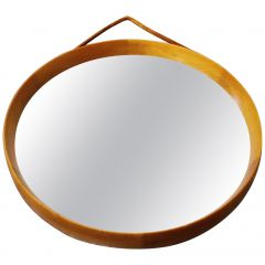 Uno and Osten Kristiansson Round Teak Mirror by Luxus Vittsjö, Sweden, 1960s