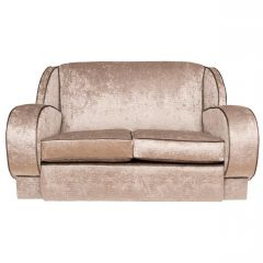 British Art Deco Sofa Newly Upholstered in a Silver Snakeskin Style Fabric