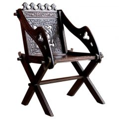 Antique Glastonbury Chair Heavily Carved Gothic, circa 1890