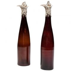 Pair of Silver Mounted 19th Century Bottles