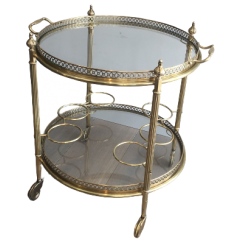 Neoclassical Brass Round Trolley. French