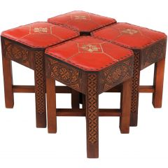 Set Of Four Art Deco Moorish Footstool Tabourets C1930